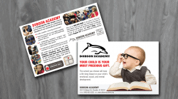 Portfolio Sample of Direct Mail Marketing Postcard from One Stop Mail for Dobson Academy with dolphin and small child with glasses and book